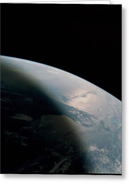 Florida Peninsula Greeting Cards - Florida Seen From Space Shuttle Greeting Card by