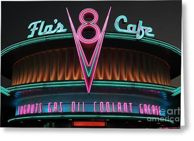 Disney California Adventure Park Greeting Cards - Flos Cafe - Radiator Springs Cars Land - Disney California Adventure - 5D17760 Greeting Card by Wingsdomain Art and Photography