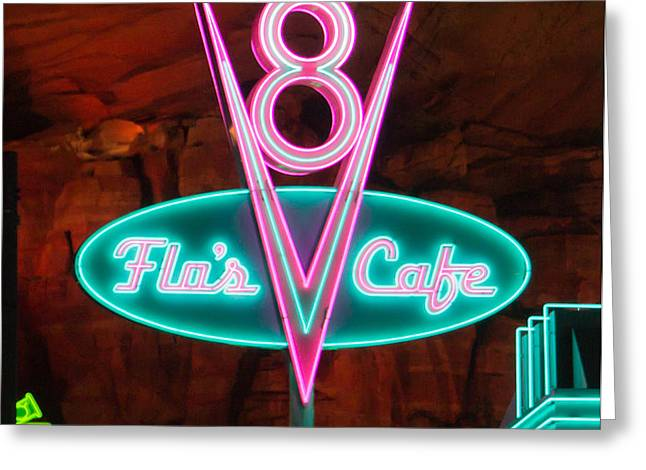 Flo's V8 Cafe - Cars Land - Disneyland Greeting Card by Heidi Smith