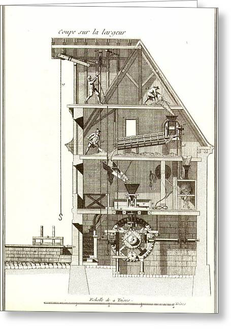 Flour Greeting Cards - FLOUR MILL, 18th CENTURY Greeting Card by Granger