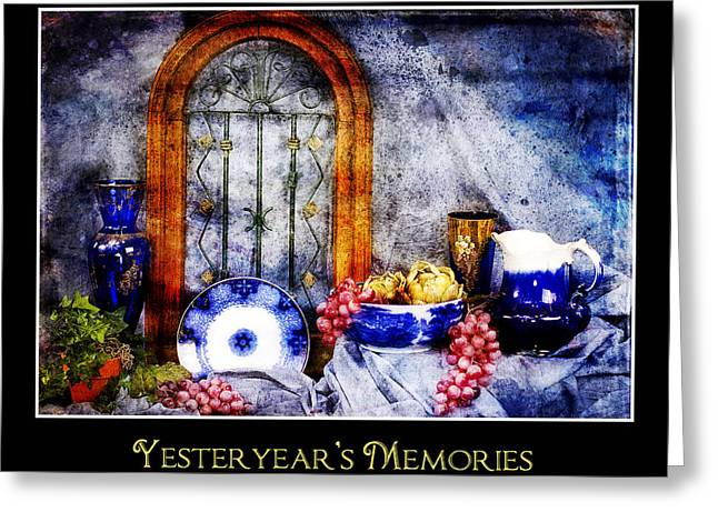 Recently Sold -  - Blue Grapes Greeting Cards - Flow Blue Dishes Greeting Card by Trudy Wilkerson