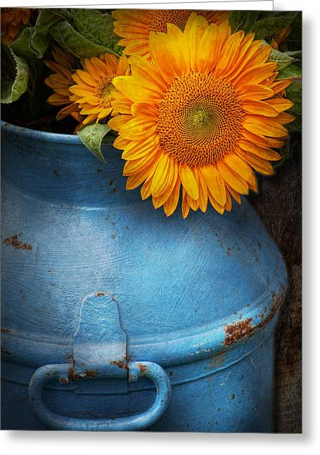 Suburban Office Greeting Cards - Flower - Sunflower - Little blue sunshine  Greeting Card by Mike Savad