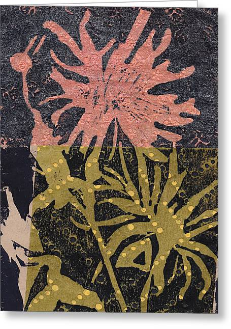 Linocut Mixed Media Greeting Cards - Flower 1 Greeting Card by Marie Hough