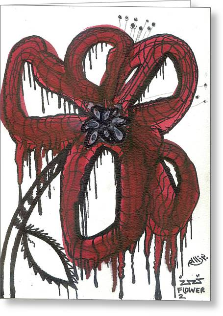 Toxic Mixed Media Greeting Cards - Flower 2 Greeting Card by Robert Wolverton Jr