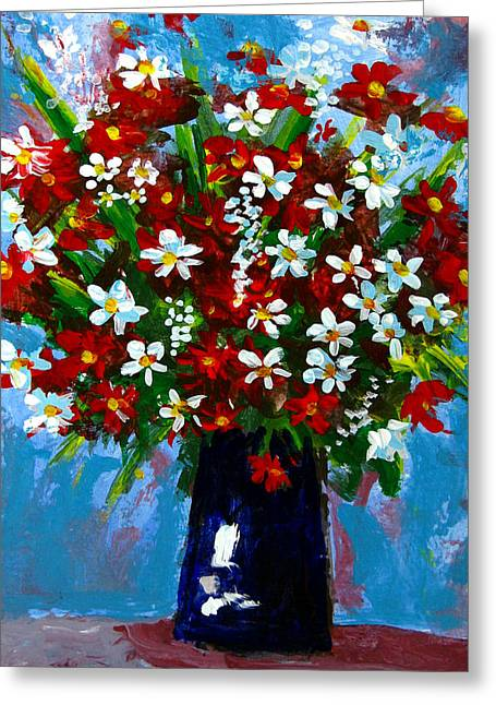 Hand Made Paintings Greeting Cards - Flower arrangement bouquet Greeting Card by Patricia Awapara