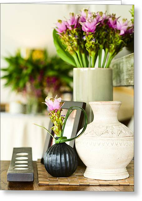 Vase Of Flowers Greeting Cards - Flower arrangement in beautiful interior setting Greeting Card by Ulrich Schade