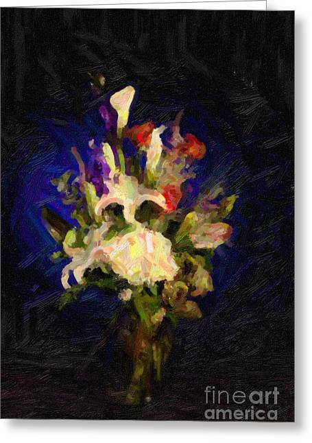 Flowers Stretched Prints Greeting Cards - Flower Arrangement Painting Greeting Card by M K  Miller