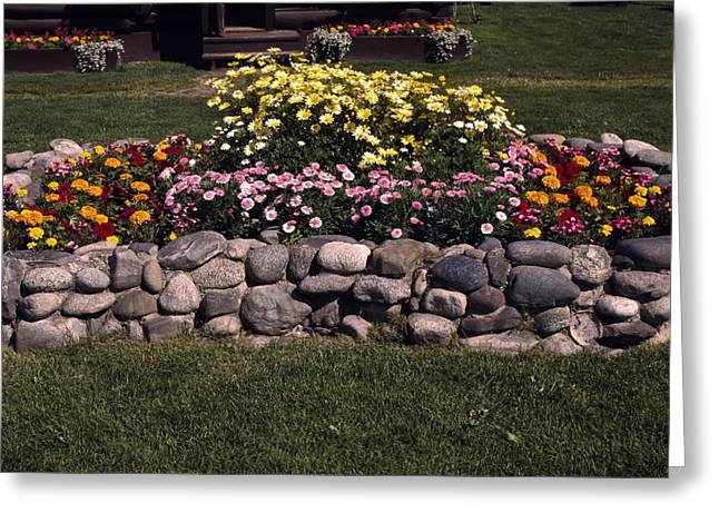 Wasilla Greeting Cards - Flower Bed and Rock Greeting Card by Sally Weigand