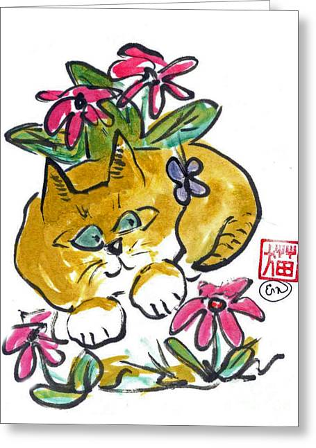 Pictures Of Cats Greeting Cards - Flower Bed Greeting Card by Ellen Miffitt