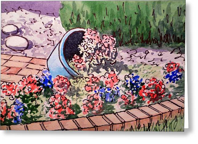 Flower Bed Greeting Cards - Flower Bed Sketchbook Project Down My Street Greeting Card by Irina Sztukowski