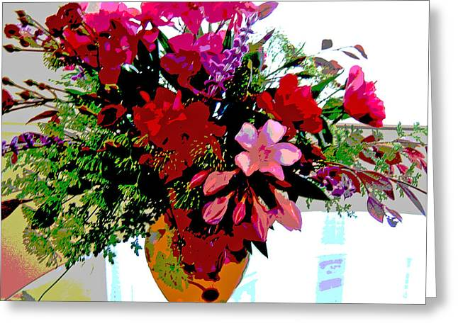 Glass Table Reflection Greeting Cards - Flower Bouquet Greeting Card by Diana  Tyson