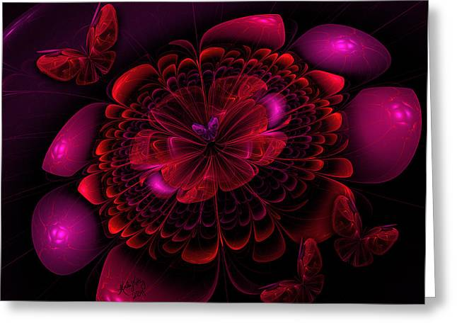 Karlajkitty Digital Art Greeting Cards - Flower Burst Greeting Card by Karla White