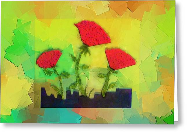 Kay Sawyer Greeting Cards - Flower Cubed Greeting Card by Kay Sawyer