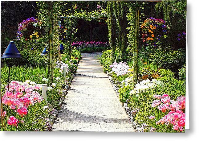 Butchart Gardens Greeting Cards - Flower Garden - Digital Painting Greeting Card by Carol Groenen