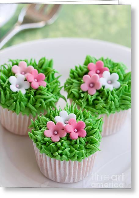 Tea Party Greeting Cards - Flower garden cakes Greeting Card by Ruth Black