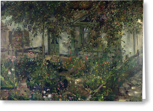Overhang Paintings Greeting Cards - Flower garden in bloom Greeting Card by Franz Heinrich Louis