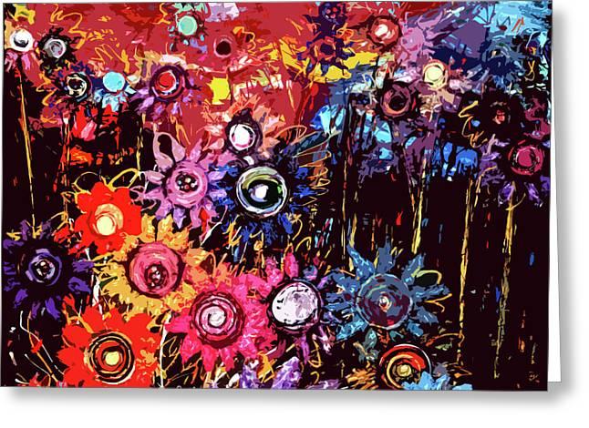 Most Sold Digital Art Mixed Media Greeting Cards - Flower garden Greeting Card by Karen Elzinga
