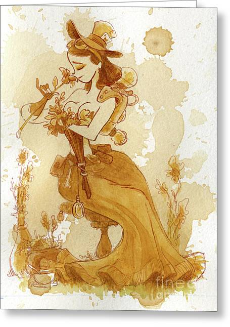Victorian Greeting Cards - Flower Girl Greeting Card by Brian Kesinger
