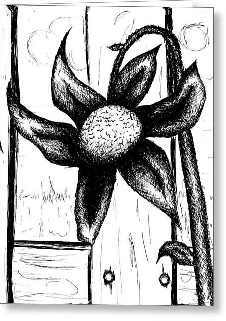 Dark Skies Drawings Greeting Cards - Flower Greeting Card by Jera Sky