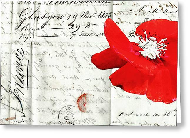 Love Letter Mixed Media Greeting Cards - Flower Love Letter Greeting Card by adSpice Studios