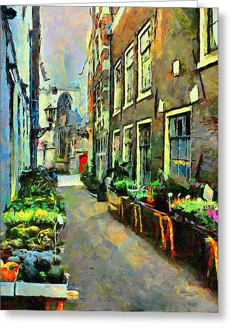 Drug House Greeting Cards - Flower Market in Amsterdam Greeting Card by Yury Malkov