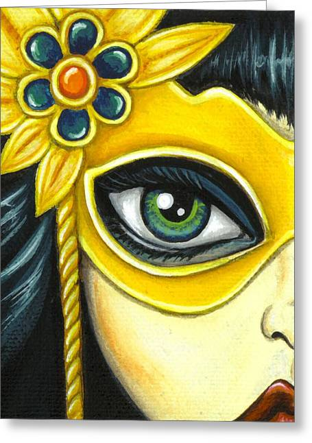 Mask Greeting Cards - Flower Masquerade Greeting Card by Elaina  Wagner