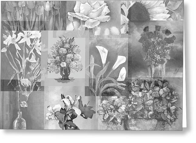Calla Lily Mixed Media Greeting Cards - Flower Montage In Shades Of Gray Greeting Card by Arline Wagner