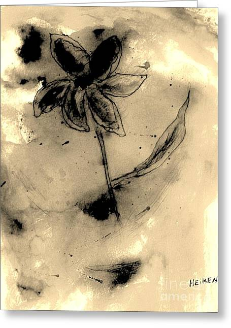 Negative Mixed Media Greeting Cards - Flower Negative Greeting Card by Marsha Heiken