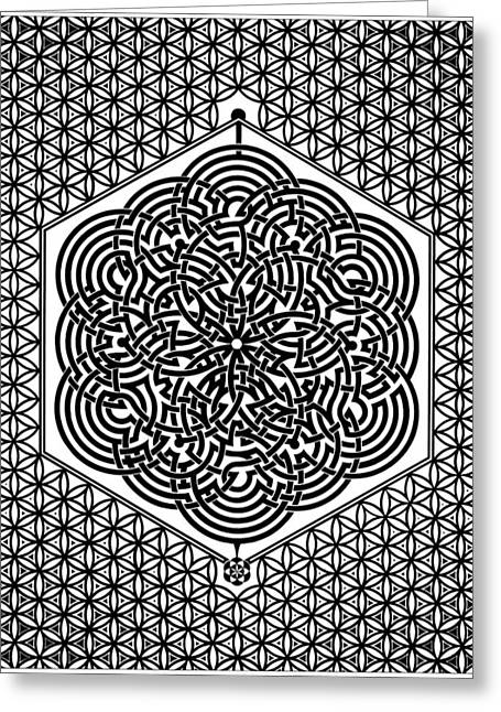 Flower Of Life Labyrinth Greeting Card by Raul Castellar