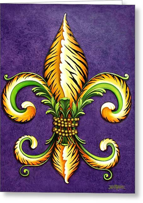 Fleur Greeting Cards - Flower of New Orleans LSU Greeting Card by Judy Merrell
