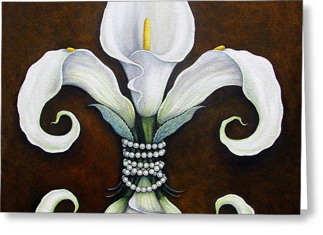 Flower of New Orleans White Calla Lilly Greeting Card by Judy Merrell