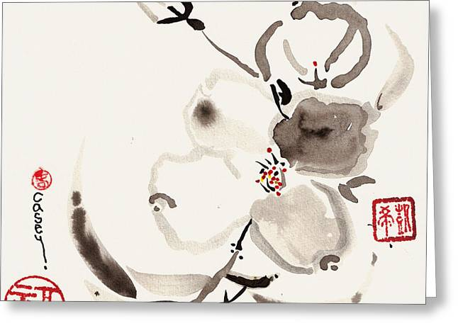 Sumi Greeting Cards - Flower of White Greeting Card by Casey Shannon