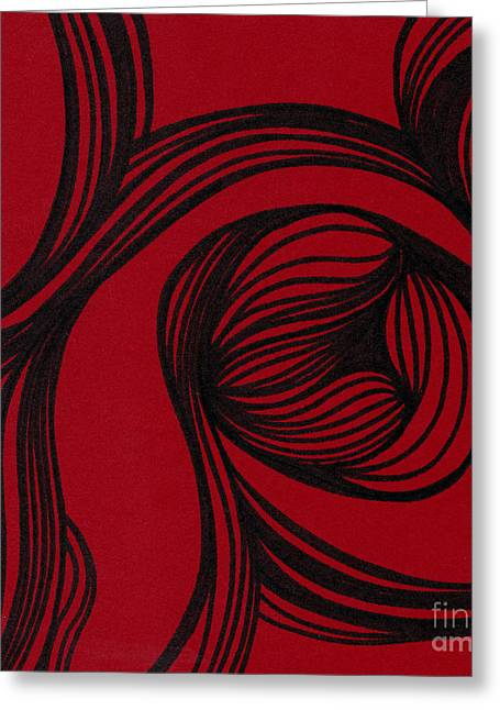 Red Abstracts Drawings Greeting Cards - Flower on red Greeting Card by HD Connelly