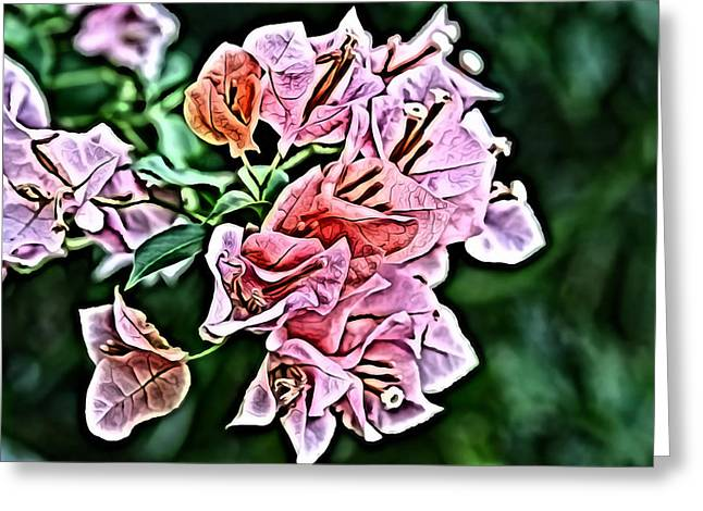 Red Digital Art Greeting Cards - Flower Painting 0005 Greeting Card by Metro DC Photography