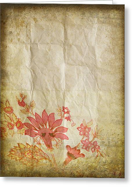 Border Photographs Greeting Cards - Flower Pattern On Old Paper Greeting Card by Setsiri Silapasuwanchai