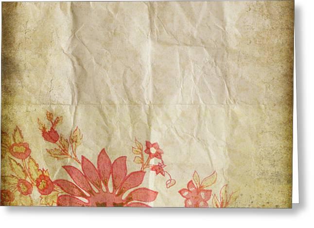 flower pattern on old paper Greeting Card by Setsiri Silapasuwanchai