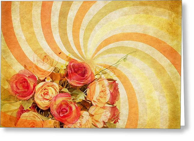 Blank Pages Greeting Cards - Flower Pattern Retro Style Greeting Card by Setsiri Silapasuwanchai