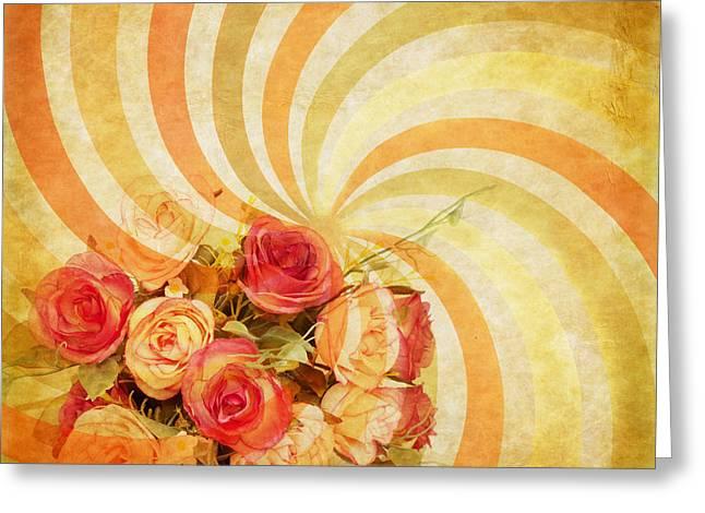 flower pattern retro style Greeting Card by Setsiri Silapasuwanchai