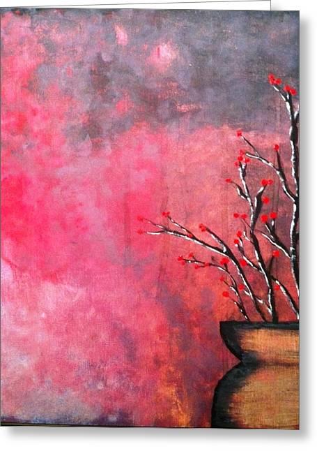 Acrylic Ceramics Greeting Cards - Flower Pot Greeting Card by Matt Thomas