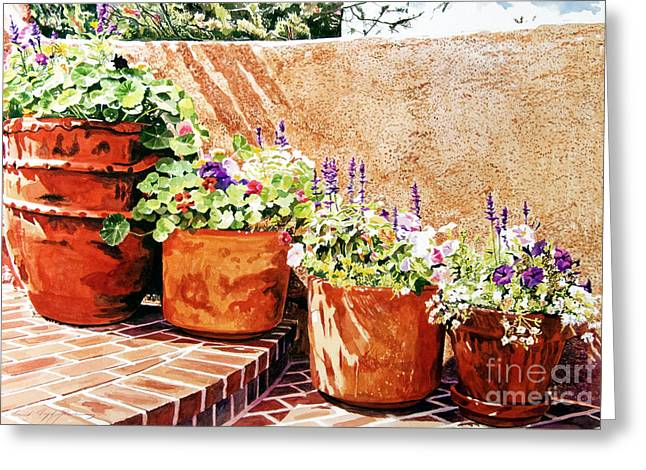 Patio Greeting Cards - Flower Pot Steps Greeting Card by David Lloyd Glover