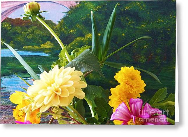 Birght Greeting Cards - Flower River Island Greeting Card by Judy Via-Wolff