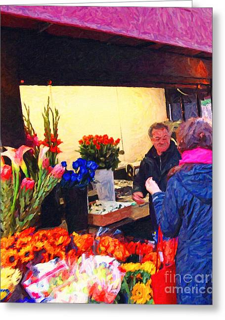 Stockton Street Greeting Cards - Flower Stand on Stockton and Geary Street . Photoart Greeting Card by Wingsdomain Art and Photography