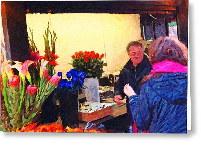 Flower Stand on Stockton and Geary Street . Photoart Greeting Card by Wingsdomain Art and Photography