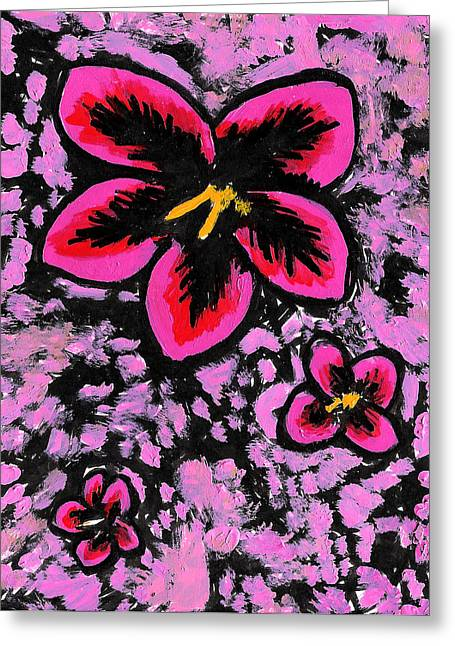 Trio Mixed Media Greeting Cards - Flower Trio Greeting Card by Jera Sky