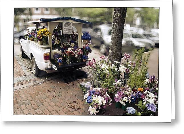 Cape Lily Greeting Cards - Flower Truck on Nantucket Greeting Card by Tammy Wetzel