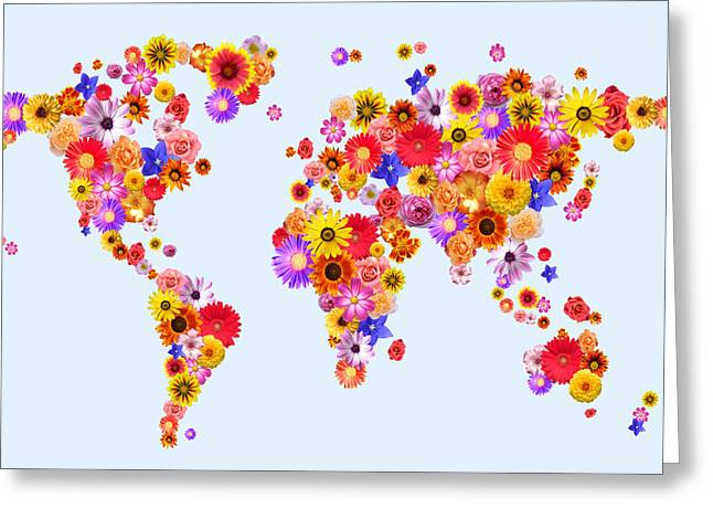 Planet Map Digital Art Greeting Cards - Flower World Map Greeting Card by Michael Tompsett