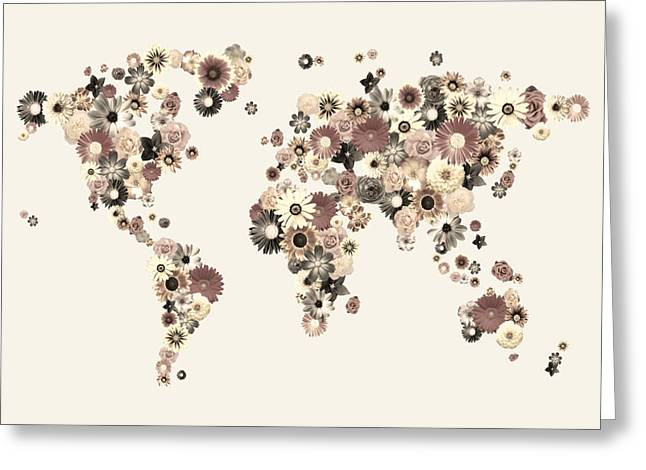 Flowers Greeting Cards - Flower World Map Sepia Greeting Card by Michael Tompsett