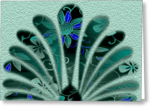 Manley Greeting Cards - Flowered Fan Greeting Card by Gina Lee Manley