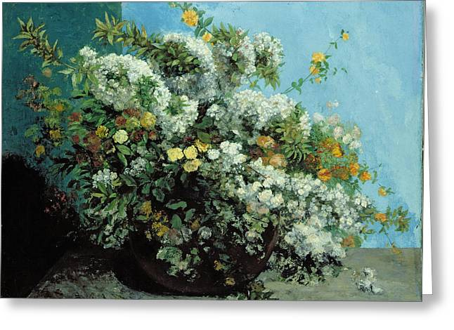 Flowering Greeting Cards - Flowering Branches and Flowers Greeting Card by Gustave Courbet