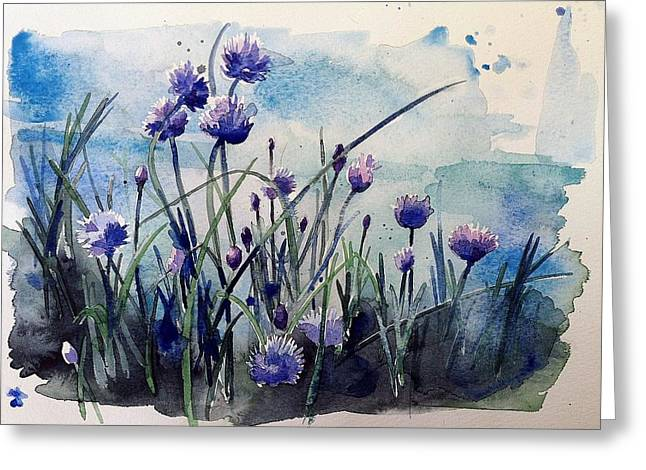 Flowering Chives Greeting Card by Stephanie Aarons